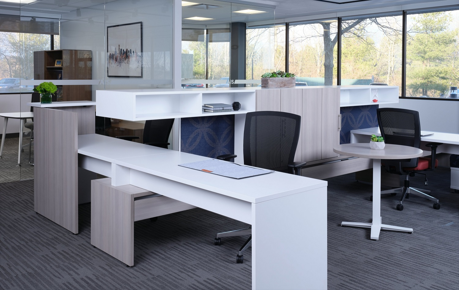 Calibrate Community with stack desks and canitlevered storage