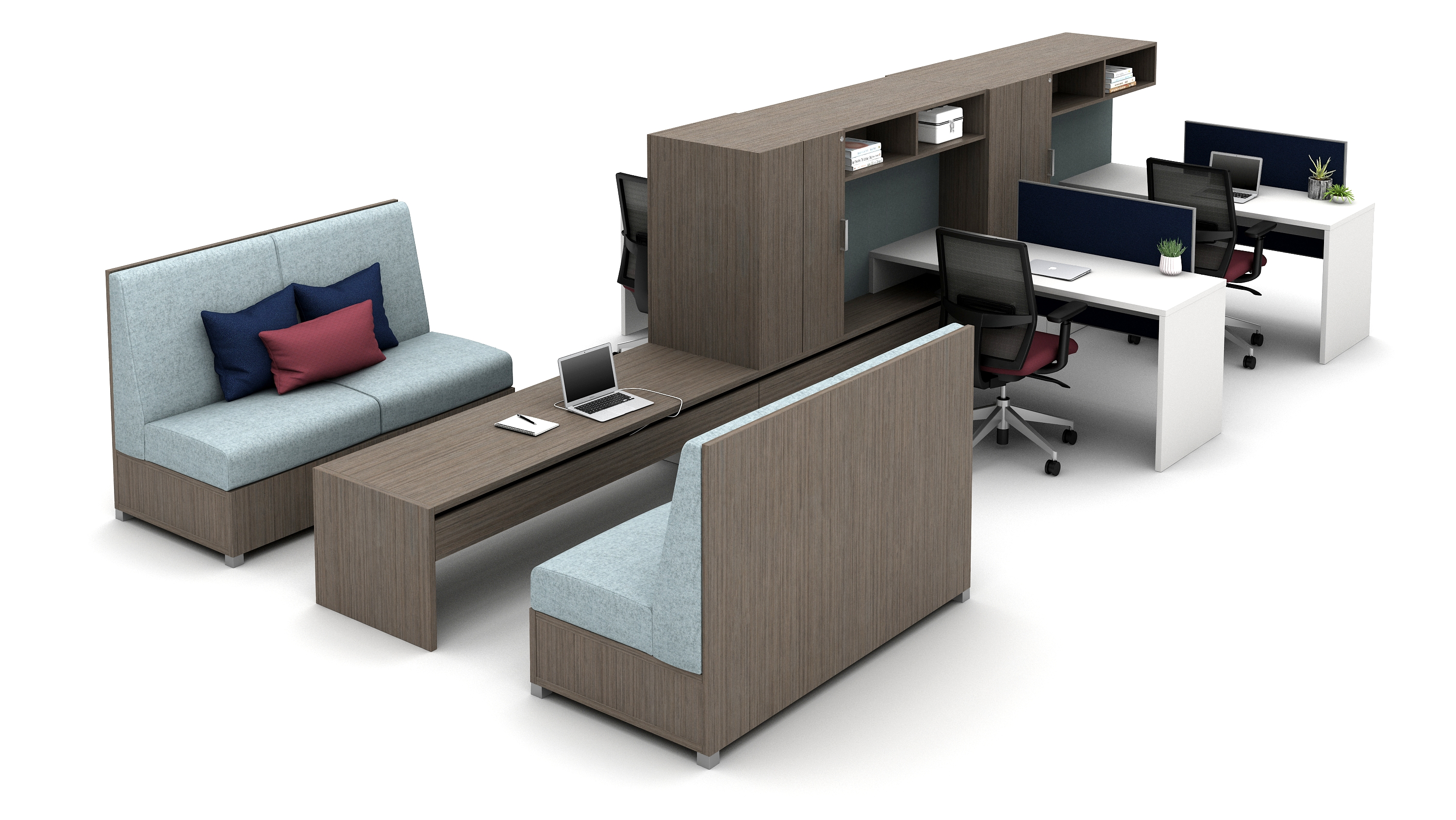 Moderate-Privacy Workstations with Cantilevered Overheads and LB Collaborative Space