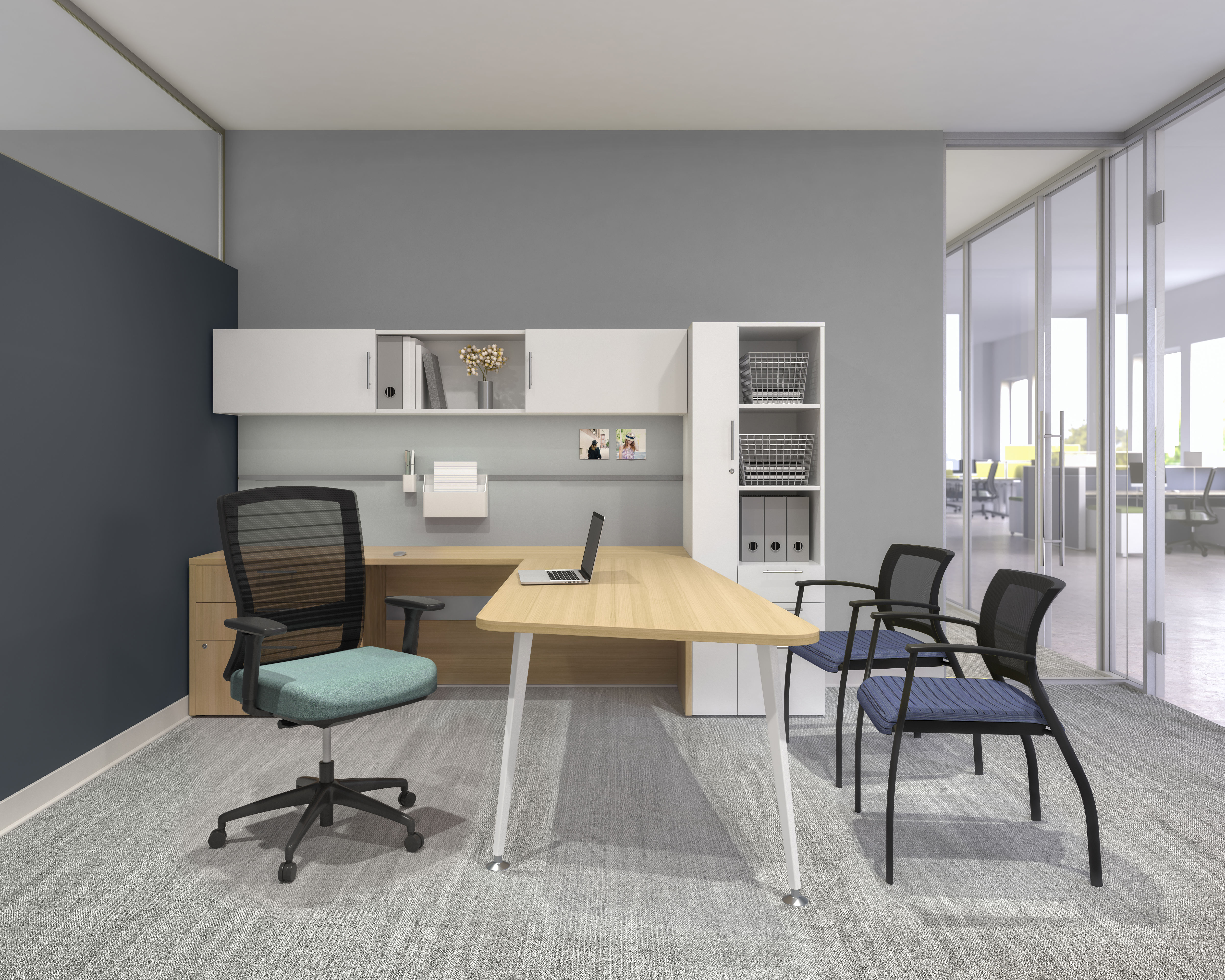 Calibrate Private Office with Natick Task Seating and Grafton Side Seating