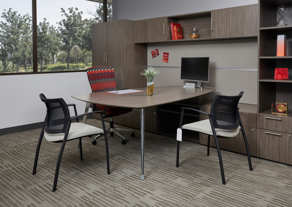 Calibrate Private Office with Side and Overstorage, Table Return for Conferencing