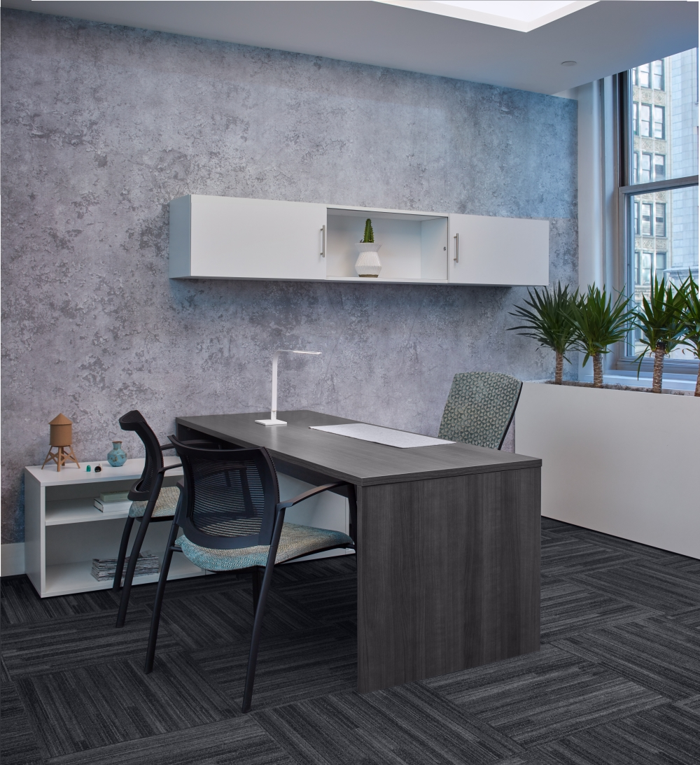 Simple Calibrate Private Office with Desk, Lower and Wall Mount Storage