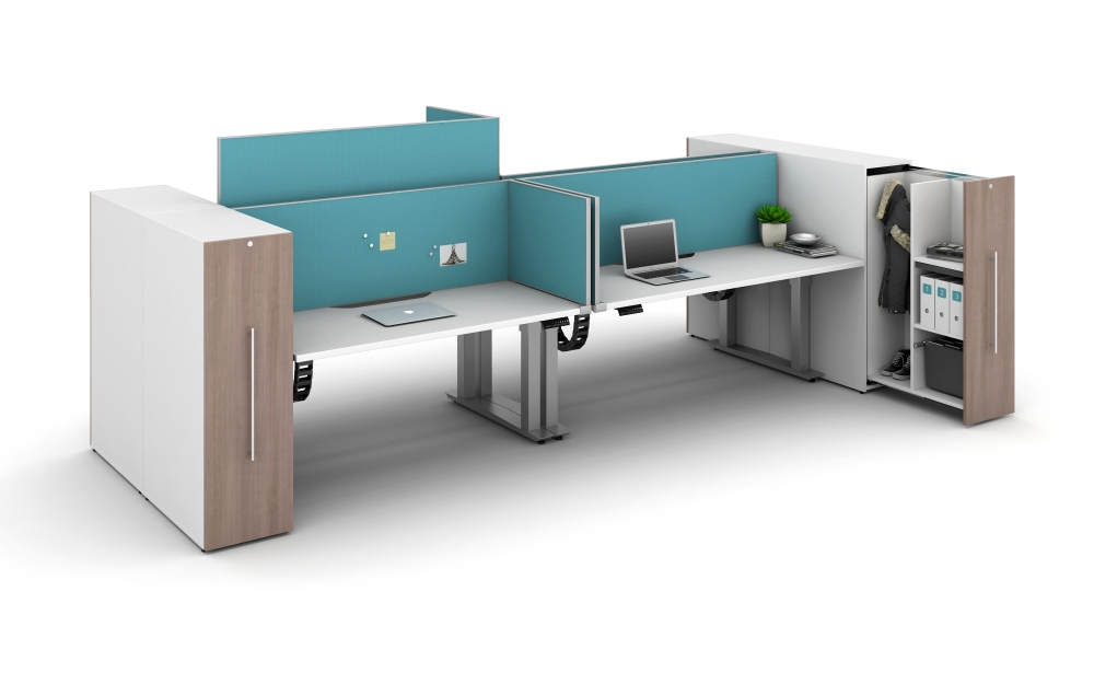 Aloft with Spine Screens and Territory Screens attached to Height Adjustable Worksurfaces
