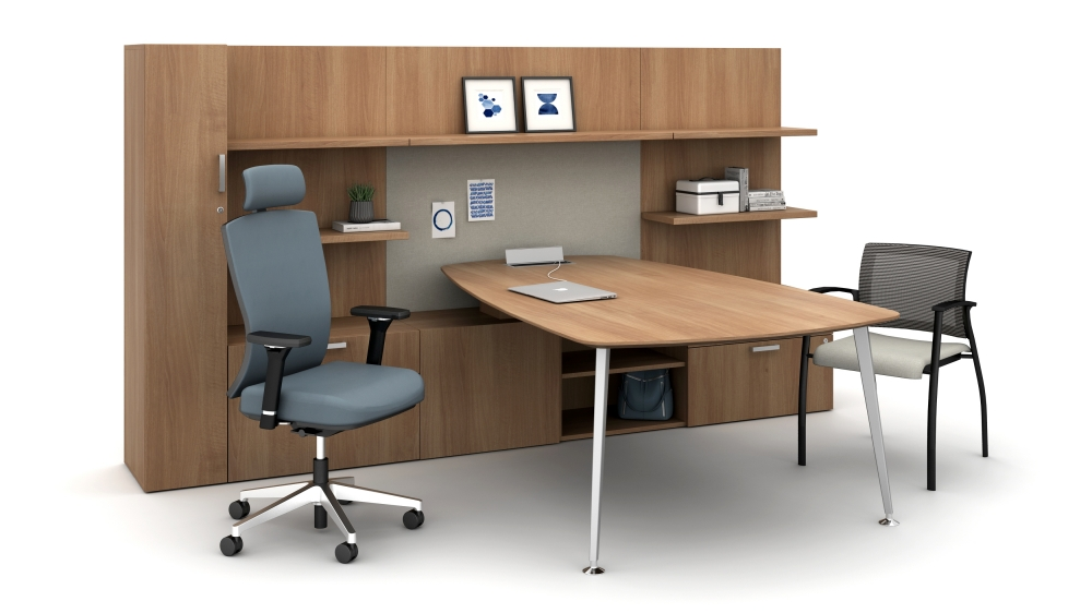 Private Office with L Shelves