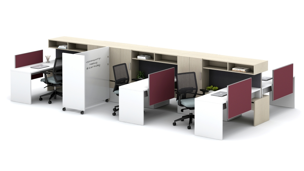 Moderate-Privacy Workstations with Cantilevered Overheads