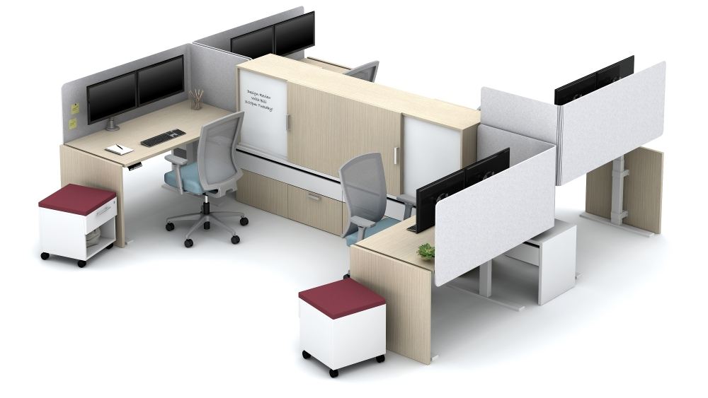 High-Privacy Workstations with Height Adjustable Tables