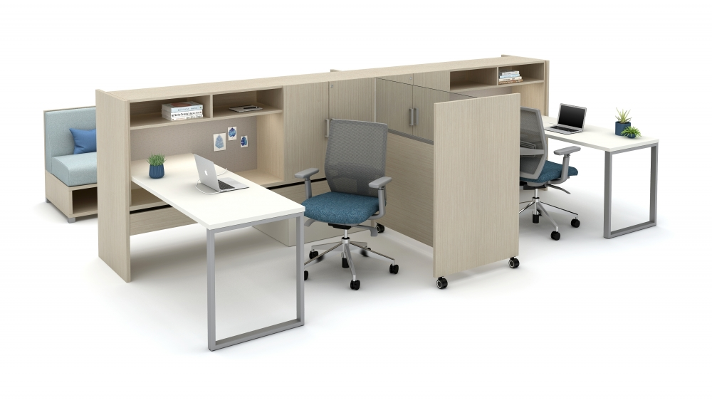 Moderate-Privacy Workstations with Cantilevered Overheads, O-Leg Supported Worksurfaces and Tri-Wheel Mobile Divider with Lexan