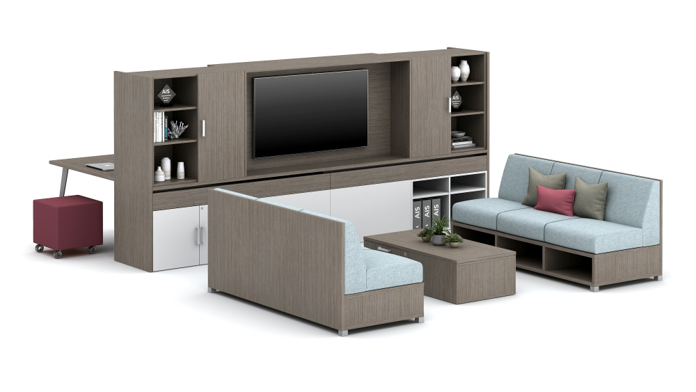 Dual-Sided Workwall with LB Lounge and Sliding Worktop Workstation