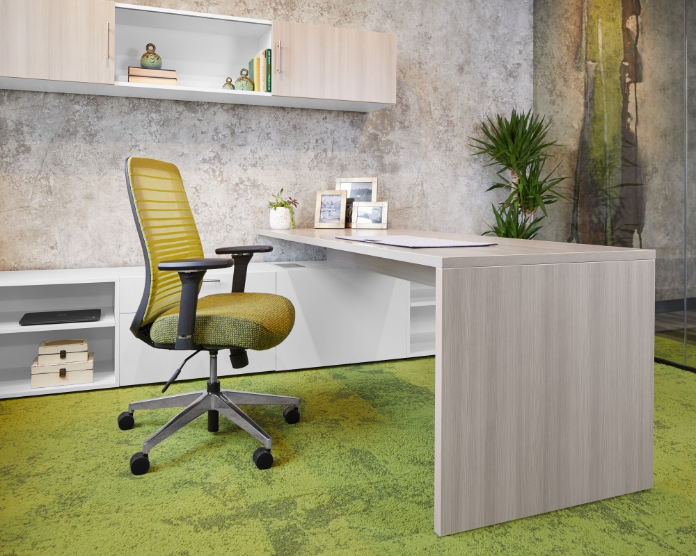 Calibrate Private Office with Desk and overhead storage