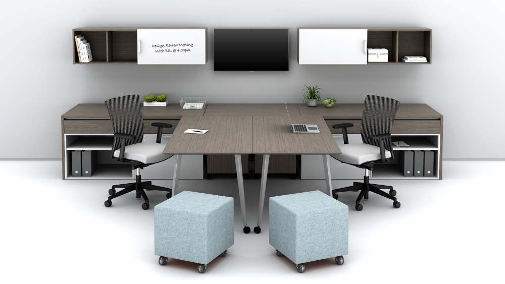 Shared Office with Sliding Worktop Option for Collaborative Space