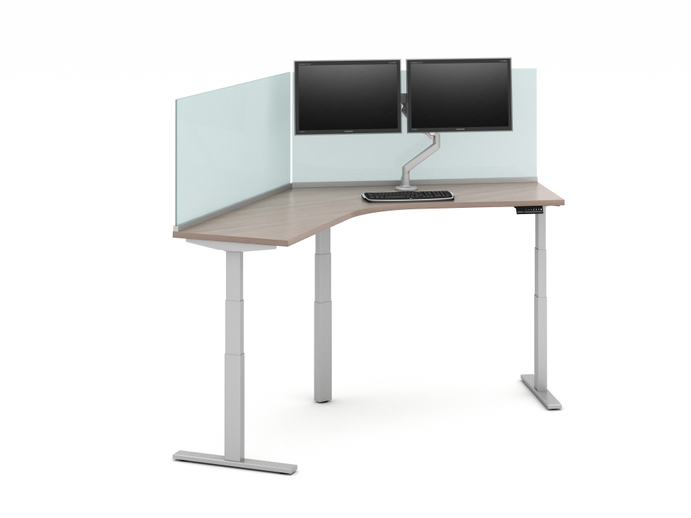 120 Degree Worksurface with 24 inch Glass Channel Screens (Surface-mount)