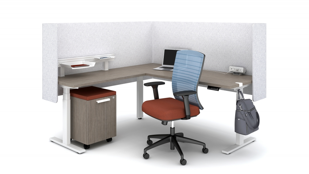 Day-to-Day Height Adjustable L-Shaped Table (Assymetrical)