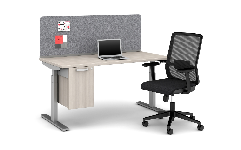 Height Adjustable Table with PET Screen and Suspended Pedestal Storage