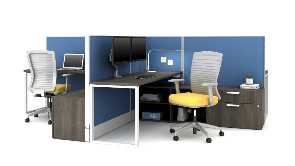 Divi with O Leg Supported Worksurface and Natick Seating