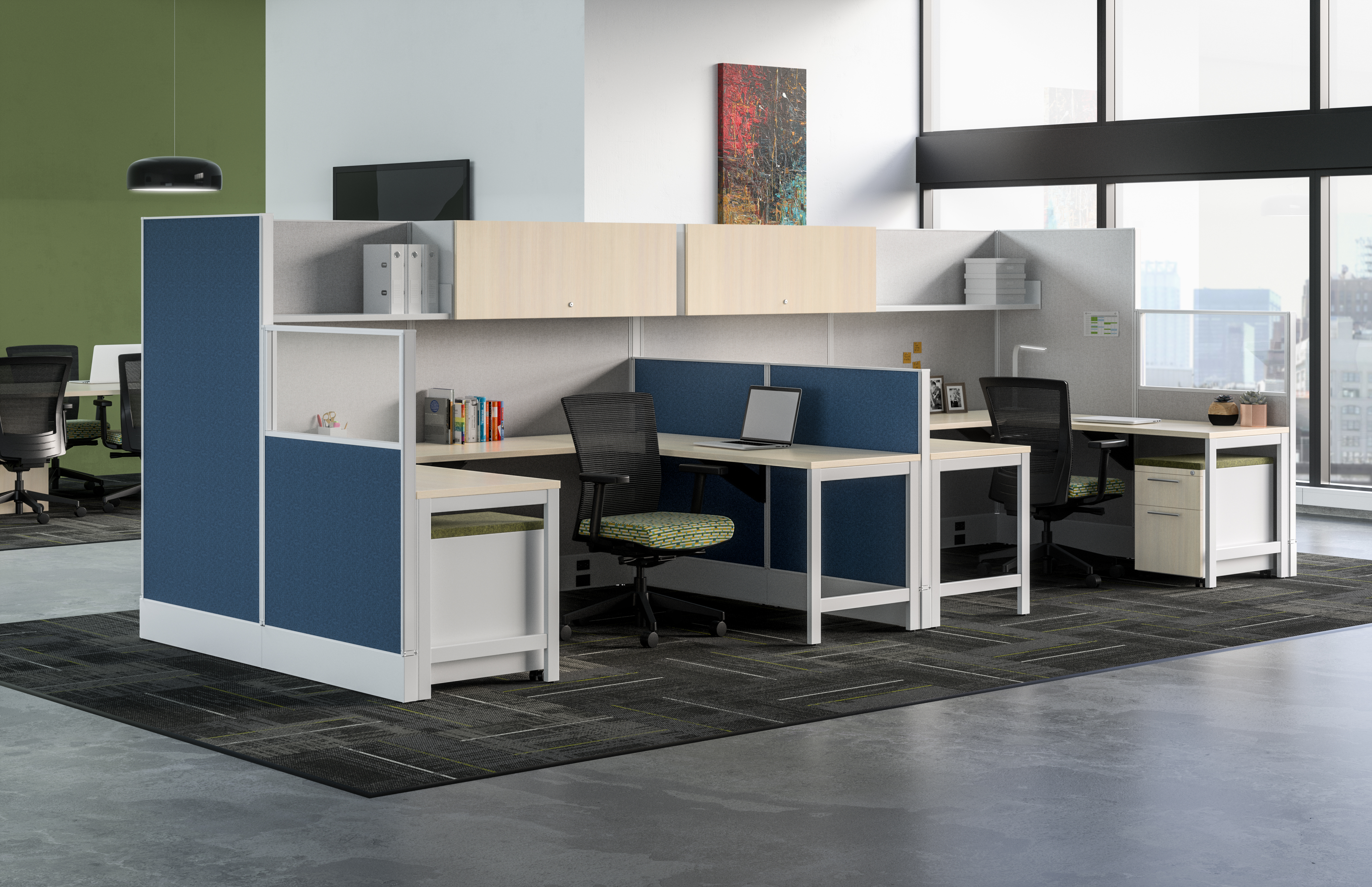 Divi with A-Leg Supported Worksurfaces