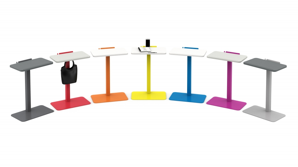 Laptop Tables with colored bases and optional bag hook