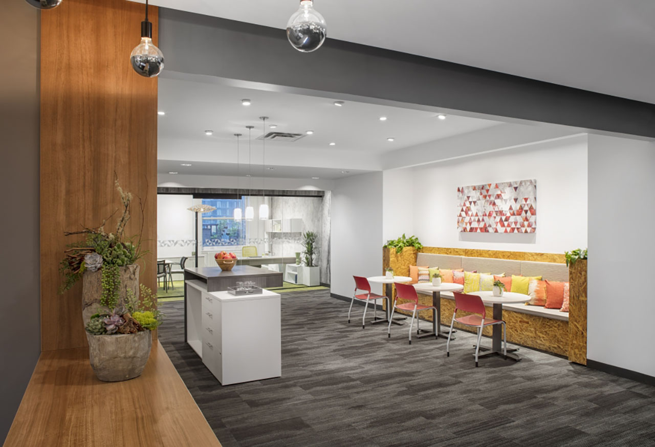 Cafe with custom Calibrate, Day-to-Day Tables and Pierce Seating