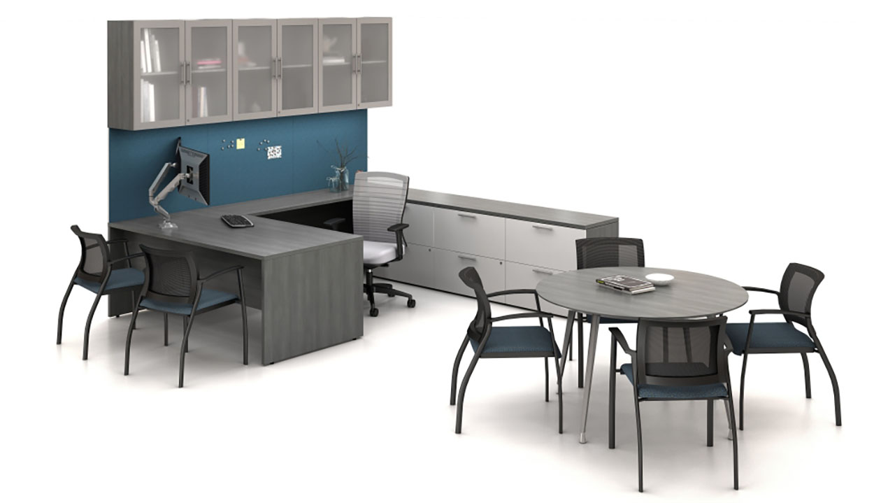 Calibrate Private Office with Desk, Full Storage and a Day-to-Day for in-office conferencing