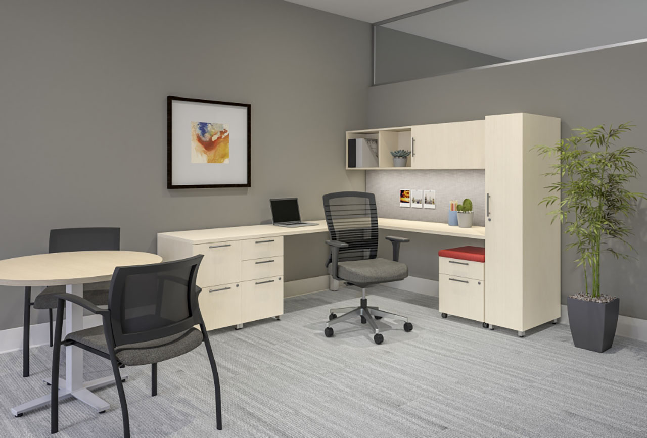 Calibrate L-Shape Private Office with Day-to-Day Table for in-office conferencing